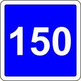 150 suggested speed road sign. Road sign with suggested speed of 150 km/h royalty free illustration