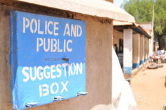 Suggestion box. Police and public suggestion box, to encourage feedback from the public royalty free stock photos