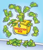 Suggestion Box with Cash. Cartoon illustration of a Suggestion Box with money flying out of it to symbolize earning money by making suggestions at a work Stock Photography