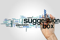 Suggestion box word cloud. Concept on grey background stock photography