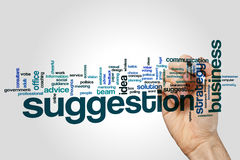 Suggestion word cloud. Concept on grey background Royalty Free Stock Images