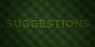 SUGGESTIONS - fresh Grass letters with flowers and dandelions - 3D rendered royalty free stock image Royalty Free Stock Photography