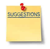 Suggestions list on yellow office note Royalty Free Stock Image