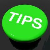 Suggestions ou instructions d'aide d'expositions de bouton d'astuces Photos libres de droits
