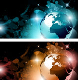 Suggestive galactic space background s. Suggestive galactic space background with a 3d accurate earth and a glow of lights nebulosa in behind in the deep Royalty Free Stock Image