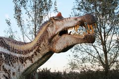 Suggestive reconstruction of predator dinosaurus  - Ostellato, Ferrara, Italy. Suggestive reconstruction of predator dinosaurus  - Photo taken in Ostellato Royalty Free Stock Photos