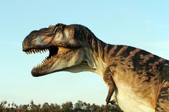 Suggestive reconstruction of predator dinosaurus  - Ostellato, Ferrara, Italy. Suggestive reconstruction of predator dinosaurus  - Photo taken in Ostellato Stock Photos