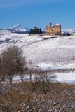 Suggestive view of the Castle of Grinzane Cavour on the snowy hills and vineyards royalty free stock photos