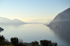 An suggestive view of Lake Iseo at sunset Royalty Free Stock Photos