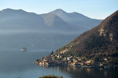 An suggestive view of Lake Iseo at sunset Royalty Free Stock Image