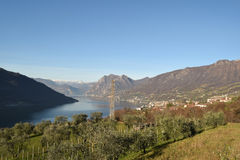An suggestive view of Lake Iseo at sunset Stock Photos