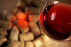 Sugheri del vino con il riflesso del vino Fotografia Stock Libera da Diritti