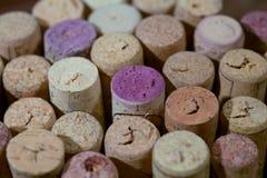 Sugheri del vino Fondo dei sugheri dalle bottiglie Fotografia Stock Libera da Diritti
