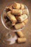 Sugheri del vino in vetro Immagini Stock Libere da Diritti
