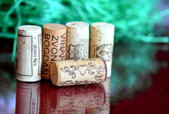 Sugheri della bottiglia di vino Fotografie Stock