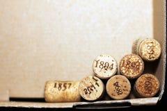Sugheri usati del vino dalle varie varietà di vino rosso d'annata e di vino bianco d'annata che descrivono le date e gli anni dif Immagine Stock