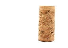 Sughero in bianco del vino isolato sul primo piano bianco del fondo Fotografia Stock Libera da Diritti