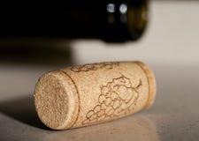 Sughero del vino con la bottiglia Immagine Stock