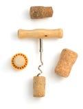 Sughero del vino e della cavaturaccioli su bianco Fotografia Stock