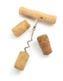 Sughero del vino e della cavaturaccioli su bianco Immagini Stock