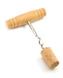 Sughero del vino e della cavaturaccioli su bianco Fotografie Stock
