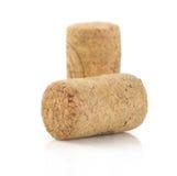 Sughero del vino isolato su bianco Fotografia Stock Libera da Diritti