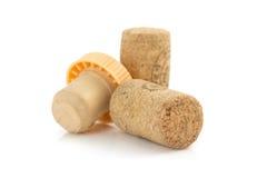 Sughero del vino isolato su bianco Immagine Stock
