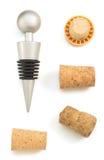 Sughero del vino isolato su bianco Fotografie Stock Libere da Diritti