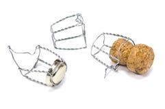 Sughero di Champagne con i nastri metallici Fotografia Stock Libera da Diritti