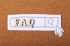 Sughero di concetto del FAQ Fotografia Stock