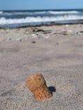 Sughero perso nella spiaggia fotografia stock