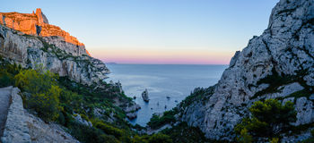Sugiton`s Calanques. Sunset in the famous canyon of Sugiton in Marseille, France Stock Photos