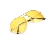 Suglasses. Yellow sunglasses on white background Royalty Free Stock Image