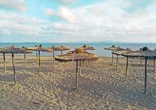 Sugr?r t?ckte paraplyet p? stranden med turkosvatten i bakgrunden arkivbild