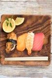 Suhi dei frutti di mare con lo spazio della copia Immagini Stock Libere da Diritti