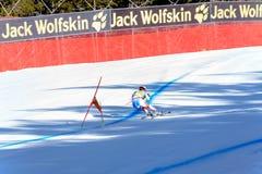 SUI Gilles Roulin participa na corrida em declive do Menpara a raça em declive do Mendo FIS Ski World Cup Finals alpino no so fotografia de stock