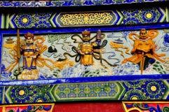 Sui Nin, Chine : Panneau décoratif de temple avec des figures Image libre de droits