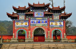 Sui Ning, China: Guang De Si Buddhist Temple Gate royalty-vrije stock foto
