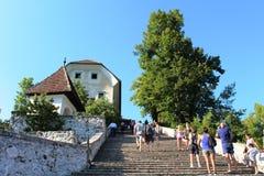 Sui punti alla chiesa sull'isola, il lago ha sanguinato, la Slovenia Fotografia Stock