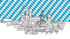 Sui tetti di Monaco di Baviera, schizzo del profilo di vettore Fotografie Stock Libere da Diritti