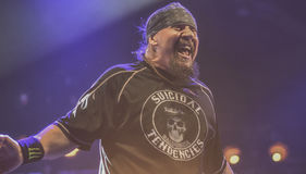 Suicidal Tendencies, Mike Muir live in concert 2017. Suicidal Tendencies are an American crossover thrash band founded in 1980 in Venice, California by vocalist royalty free stock photo