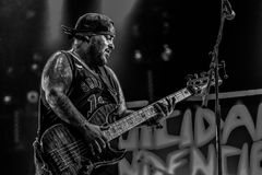 Suicidal Tendencies, Ra Diaz live in concert 2017. Suicidal Tendencies are an American crossover thrash band founded in 1980 in Venice, California by vocalist stock photography