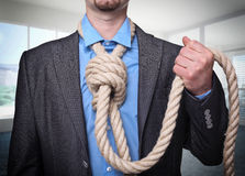 Suicide. Man want to suicide in his office royalty free stock image