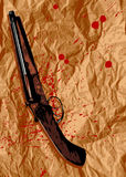 Suicide. Bloody sheet and shotgun, vector illustration Royalty Free Stock Images
