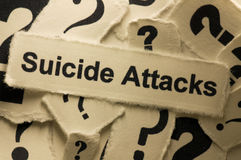 Suicide Attacks. Picture of words suicide attacks and question marks around it Stock Photography