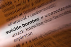 Suicide Bomber - Terrorist Attack. A suicide bomber is a type of attack in which the attacker expects or intends to die along with his victims royalty free stock photography