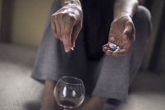 Free Suicide Due To Drugs Overdose With Alcohol Royalty Free Stock Photo - 144703025