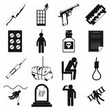 Suicide icons set, simple style Stock Photos