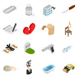 Suicide isometric 3d icons. Set isolated on white background Stock Images