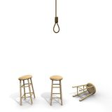 Suicide knot with stool. Hangman´s suicide knot with three different stool positions Royalty Free Stock Photos
